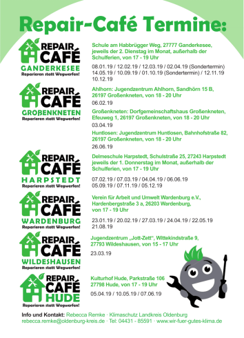 Flyer Repair-Cafés Termine © Landkreis Oldenburg